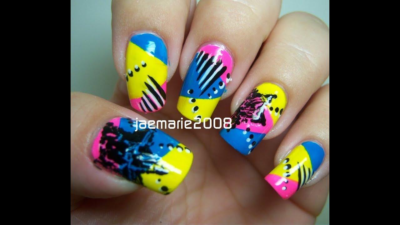 80s funky pop star nail design