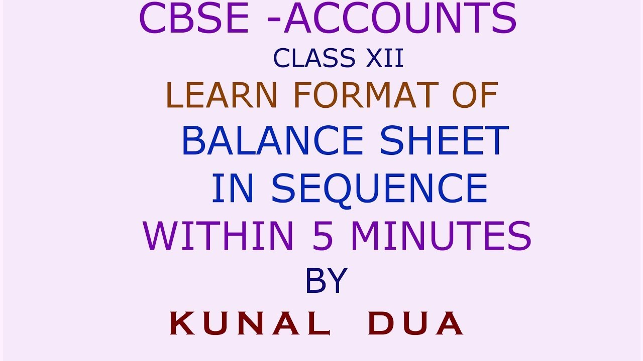 shortcut to remember revised schedule vi balance sheet format in