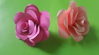 Hướng dẫn làm hoa hồng bằng giấy cực dễ   Cách làm hoa giấy   Paper rose tutorial