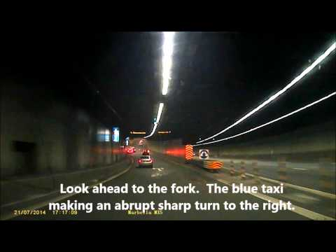 CTE Tunnel Singapore Taxi Sharp Right Dangerous Driving
