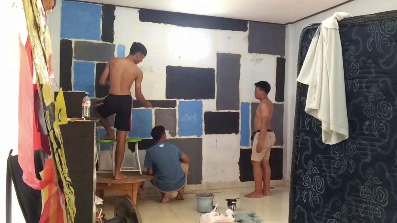Mengecat tembok kamar dengan pola kotakkotak  YouTube