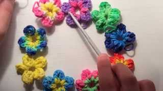 How to make a Flower Charm -With Just Your Hook! (Rainbow Loom)