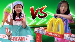 Pretend Play McDonalds Drive Thru VS Ice Cream Food Truck