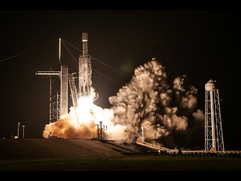 The Falcon Heavy rocket launched early Tuesday—two cores made it back safely