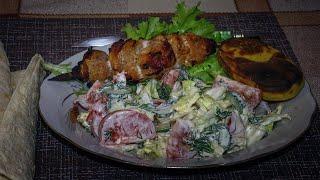 Шашлык  на ужин в сковороде Гриль - газ