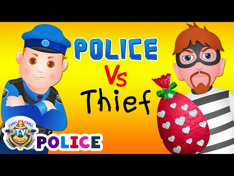 Thumbnail: ChuChu TV Police Chase Thief in Police Car Save Huge Birthday Egg Surprise Toys Gifts for Twin Kids