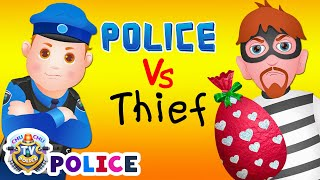 ChuChu TV Police Chase Thief in Police Car Save Huge Birthday Egg Surprise Toys Gifts for Twin Kids