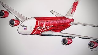 Air Asia, Airbus A-380, drawing timelapse