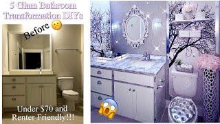 GLAM BATHROOM IN 5 EASY STEPS  EXTREME BATHROOM TRANSFORMATION DIY