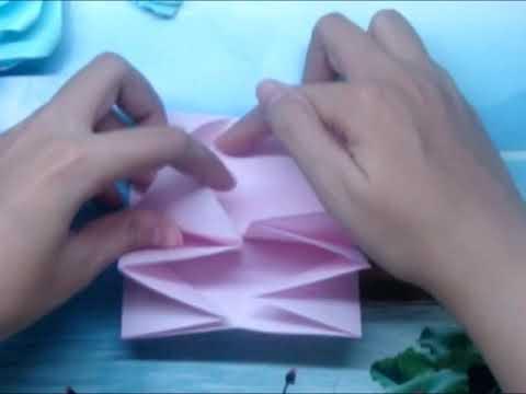 How to make Origami Easy Rose - Cách xếp hoa hồng cực đơn giản.