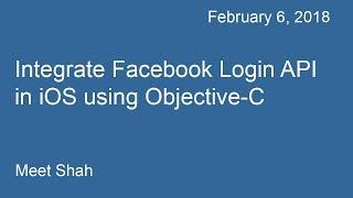 Integrate Facebook Login API for iOS using Objective-C