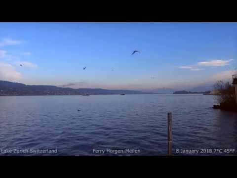 Your Window to Lake Zurich - Relaxing Sounds - Ferry Horgen Meilen Alps HDp50