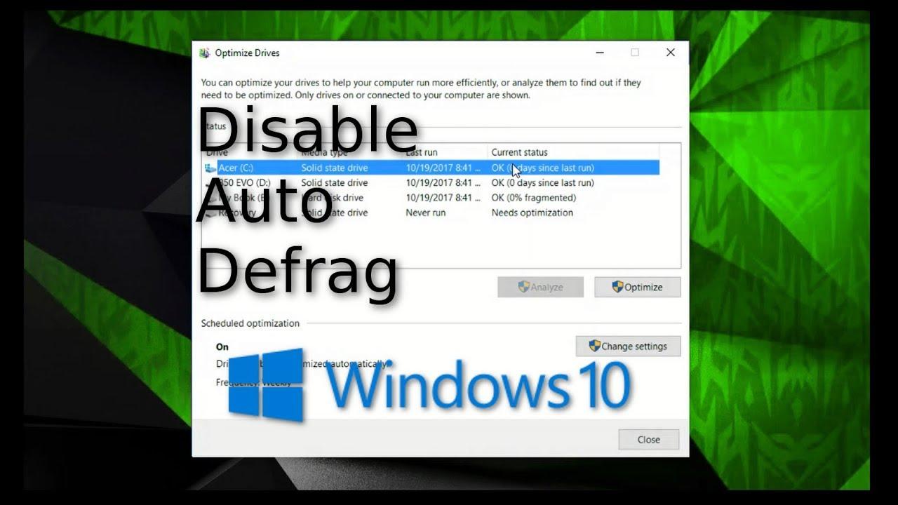 windows 10 auto defrag ssd