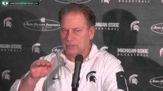 """Tom Izzo Press Conference """"Denzel Valentine out 2-3 Weeks after surgery"""""""