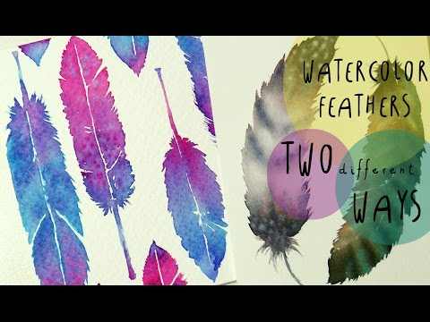 Watercolor Tutorial: How to paint FEATHERS in TWO different WAYS - by ART Tv