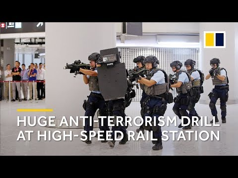 Hong Kong police hold large anti-terrorism drill at high-speed rail link to mainland China