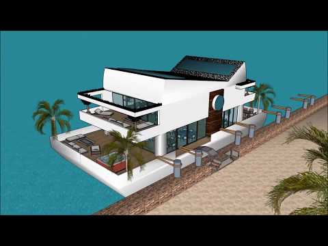 Futuristic Mansion floating on ecobarge in INDIA Mumbai modern houseboat living expo essentials