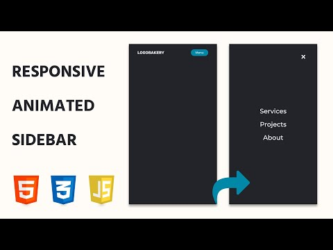 Frontend Development Tutorial: Sidebar Menu Animation with JavaScript / CSS / HTML thumbnail