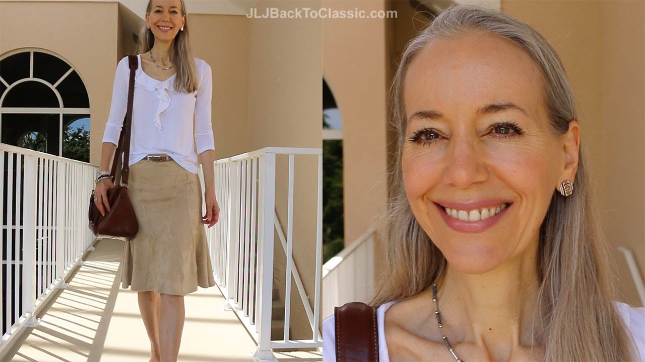 Classic Fashion Style Over 40 50 Faux Suede Skirt White Ruffle Tee Ralph Lauren Bag Youtube