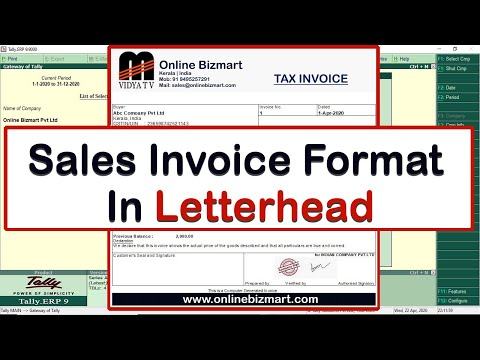 Free Tdl Sales Invoice Format In Letterhead Tally Erp 9 Youtube