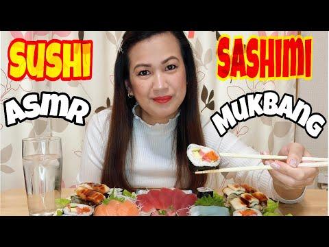 MUKBANG,ASMR | Sushi & Sashimi | Japanese raw food | NO Talking while eating...
