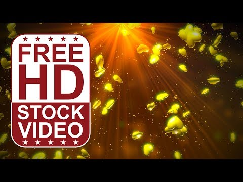 FREE HD video backgrounds –  abstract animated 3D gold hearts spining and falling slowly