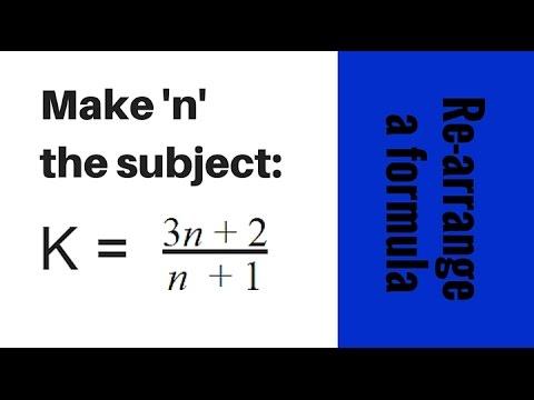 Rearrange algebra formula to make n the subject - GCSE Question
