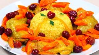شميشة : طاجين الدجاج بالأرز، الجزر والزيتون الأحمر | سلطة الخرشوف الشوكي (القوق) بالجمبري