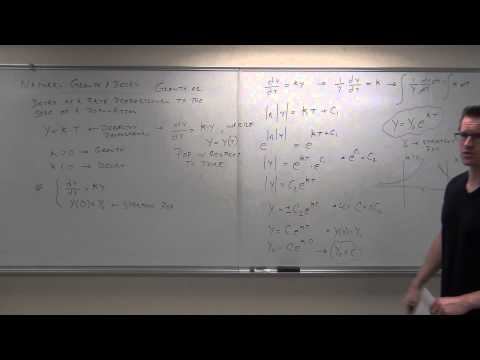 Calculus 2 Lecture 8.1: Solving First Order Differential Equations By Separation of Variables