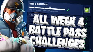 ALL WEEK 4 BATTLE PASS CHALLENGES! (Fortnite Battle Royale Season 4)