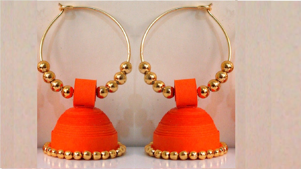 Papercraft How to make Paper Earrings Jhumka | Paper Quilling Tutorial