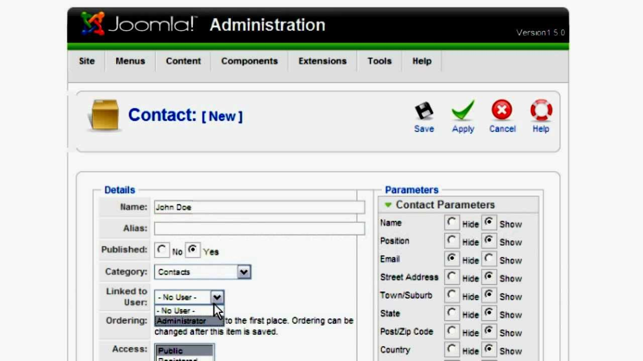 how to create contact form in joomla