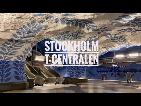 Stockholm Metro Art: T-Centralen Blue Line.
