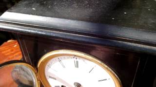 Antique Old French Wooden Case Striking Mantle / Mantel Clock  Needs Service
