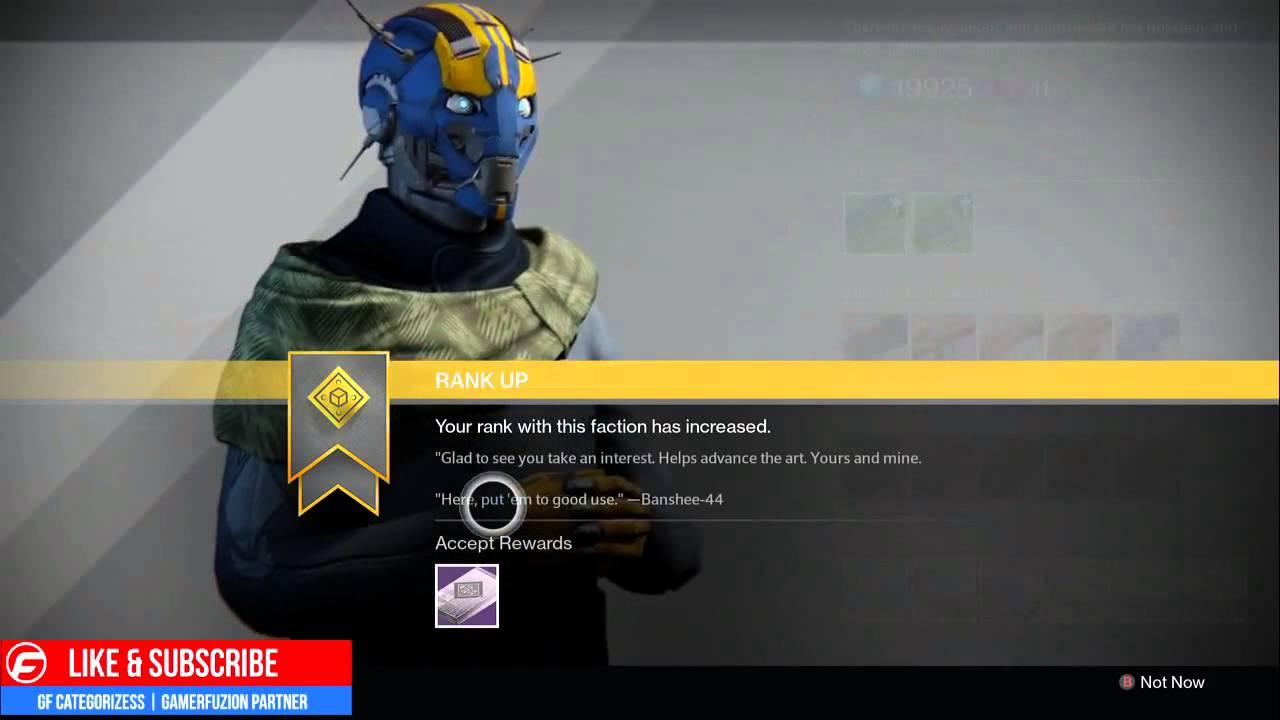 Destiny gunsmith package opening rank 2 rewards reputation the taken