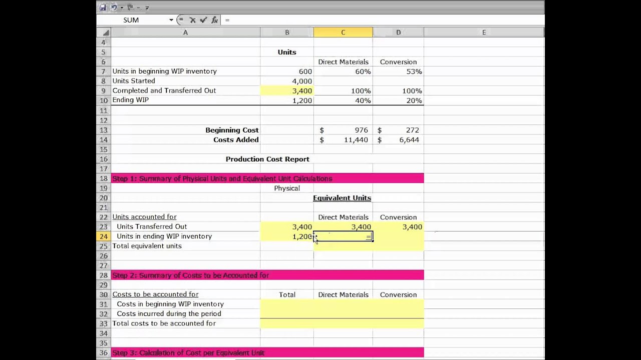 Process Costing Weighted Average Method Problem 8 27