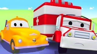 Tom o Caminhão de Reboque e Amber a Ambulância  na Cidade do Carro | Desenhos animados crianças