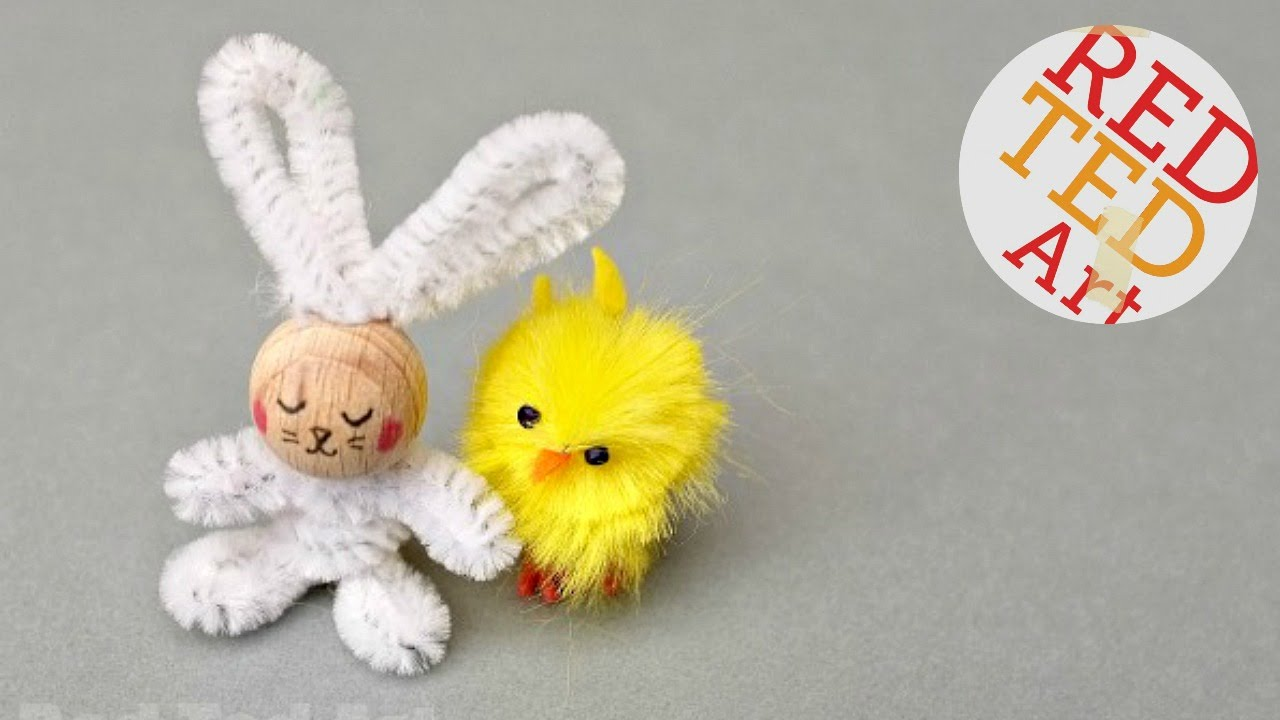 Easy pipe cleaner bunny craft how to youtube for Easter crafts pipe cleaners