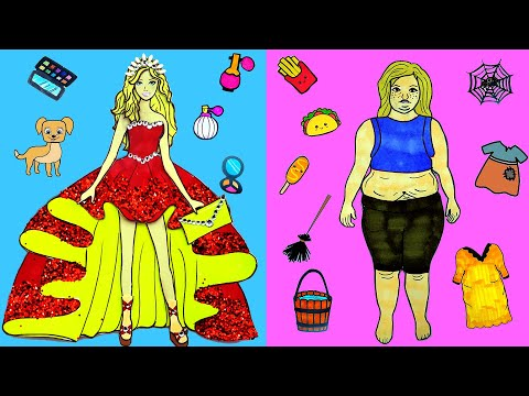 Paper Dolls Dress Up - Prom Costumes Fat & Thin Dresses Handmade Quiet Book - Barbie Story & Crafts