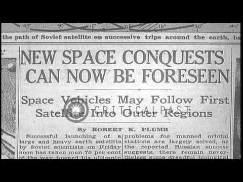New York Times headlines about the new space conquest van and successful launch o...HD Stock Footage
