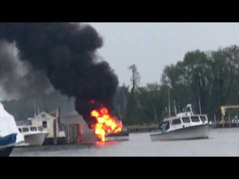 Solomons Island Maryland Boat Explosion and fire 4-20-2017