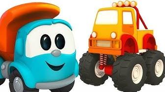 Lasten leluanimaatio. Rakennetaan lasten monsterirekka! Lasten autot ja rekat.