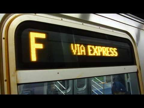 IND Queens Blvd Exp: Jackson Heights-Roosevelt Avenue bound R-160A-2 F train @ Forest Hills-71st Av!