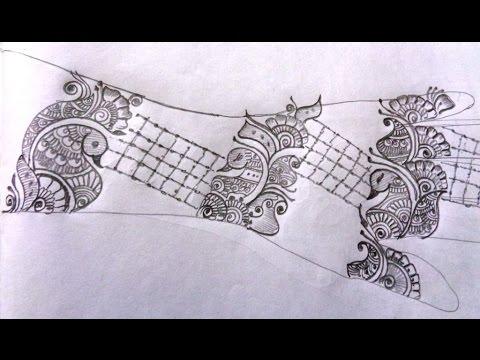 Beautiful Mehndi Design Draw On Paper Youtube