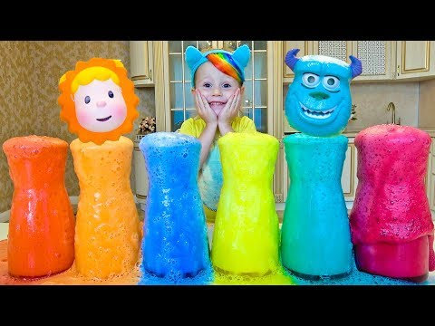 Making Colored foam with Funny Stacy