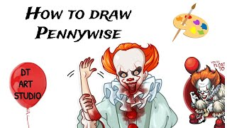 How to Draw Pennywise Easy   How to Draw Pennywise the Clown  How to Draw Pennywise Step by step
