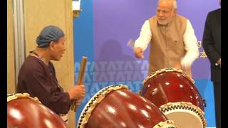 PM inaugurates TCS Japan Technology&Cultural Academy Soukoukai by beating ceremonial Japanese Drum