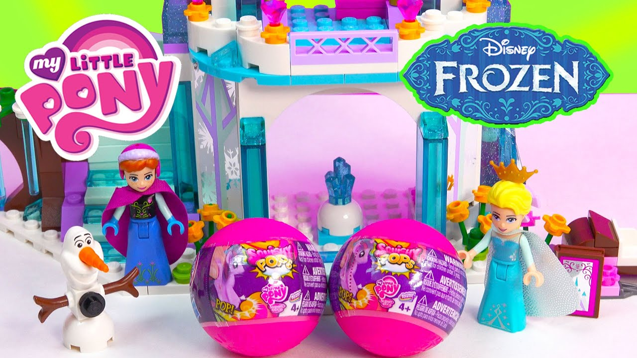 2 My Little Pony Squishy Pops Blind Bag Balls with Queen Elsa at Disney Frozen Sparkling Ice ...
