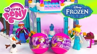 2 My Little Pony Squishy Pops Blind Bag Balls with Queen Elsa at Disney Frozen Sparkling Ice Castle