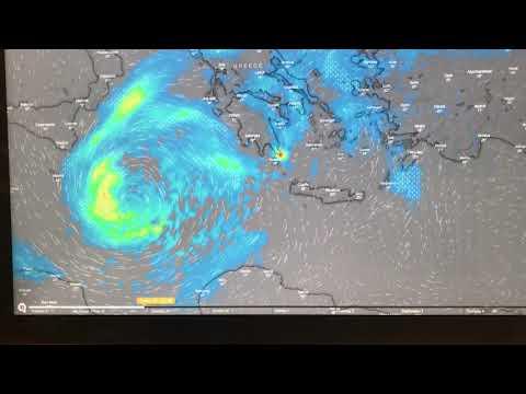 Εκτίμηση της πορείας του μεσογειακού κυκλώνα πάνω από την Κρήτη